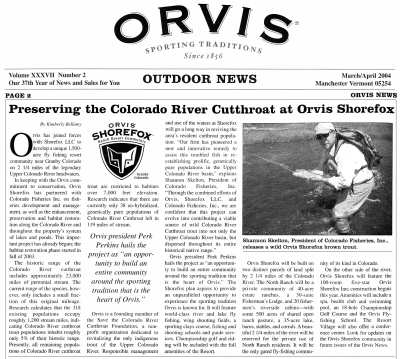Orvis Outdoor News - CFI and Orivs Shorefox